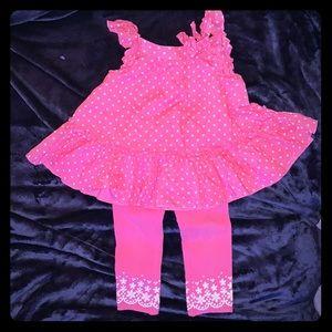First impressions set pink polka dots, sz 18 mos